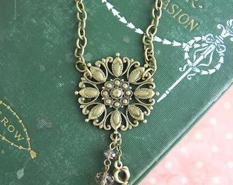 antique brass medallion necklace