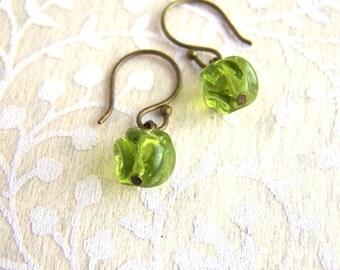 antique bronze green glass earrings