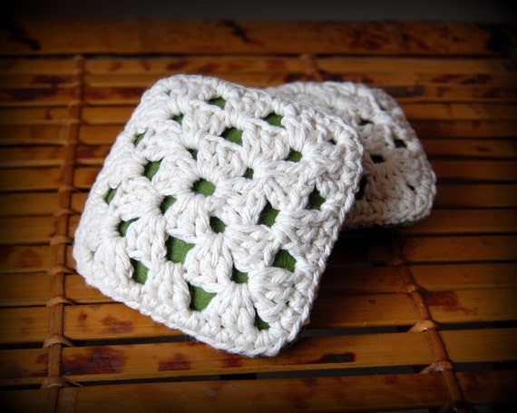 PIF crochet granny square pin cushion,cotton and wool felt