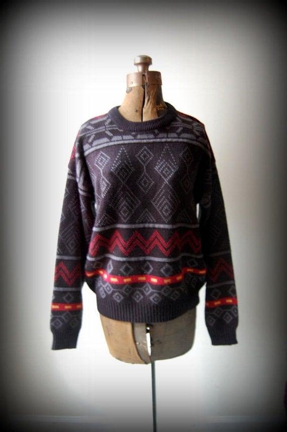 SALE vintage 80s sears mens sweater/slouchy sweater/boyfriend sweater