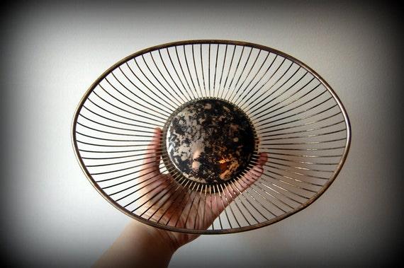 SALE vintage silver oval wire bowl