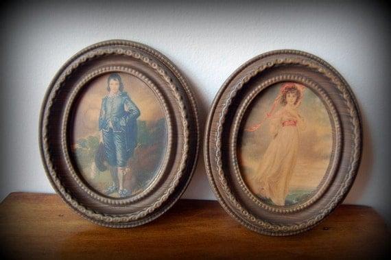 vintage pinkie and blue boy framed wall art set