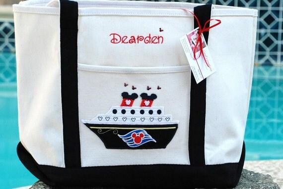 Personalized canvas Disney cruise line tote bag monogram applique flower girl bag bridesmaid beach bag