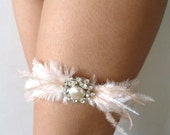 Pale pink and white feather garter with crystals and Something Blue - Grace