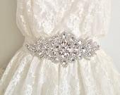 SALE - Bridal crystal belt, Bridal crystal sash, wedding belts and sashes, rhinestone sash, rhinestone belt, bridal applique sash - DIANA