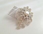 RACHEL Bridal comb, crystal comb, rhinestone comb, crystal hairpiece - ships in 1 week