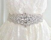 SALE - Luxury bridal sash, rhinestone sash, wedding belt, wedding sash, beaded bridal sash, crystal bridal sash - DIANA DELUX