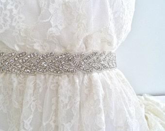 Bridal crystal sash, bridal beaded sash, wedding belt, crystal beaded sash, rhinestone sash, wedding sash, bridesmaid sash - DEANNA