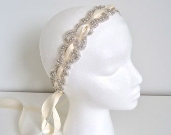 Bridal Crystal Ribbon headband, bridal crystal headpiece, beaded crystal headband - RACHEL - ships in 1 week