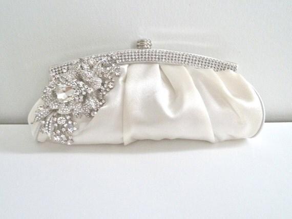 LAST ONE - White satin evening bridal clutch purse with rhinestone crystals