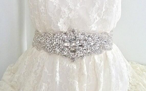 SALE - Luxury bridal sash, rhinestone sash, wedding belt, wedding sash, beaded bridal sash, crystal bridal sash - DIANA DELUXE