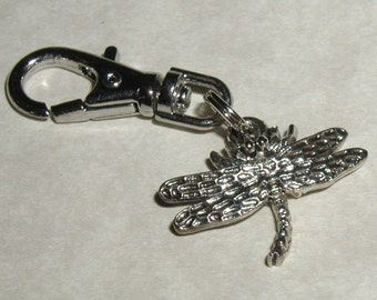 Dragonfly Zipper Pull Backpack Fob Silver Purse Charm Swivel Clip Insect