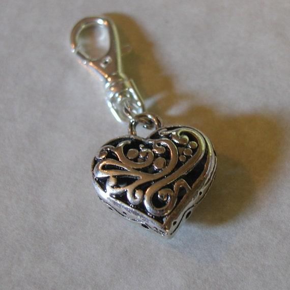 Silver Heart Zipper Pull Backpack Fob Charm Swivel Clip