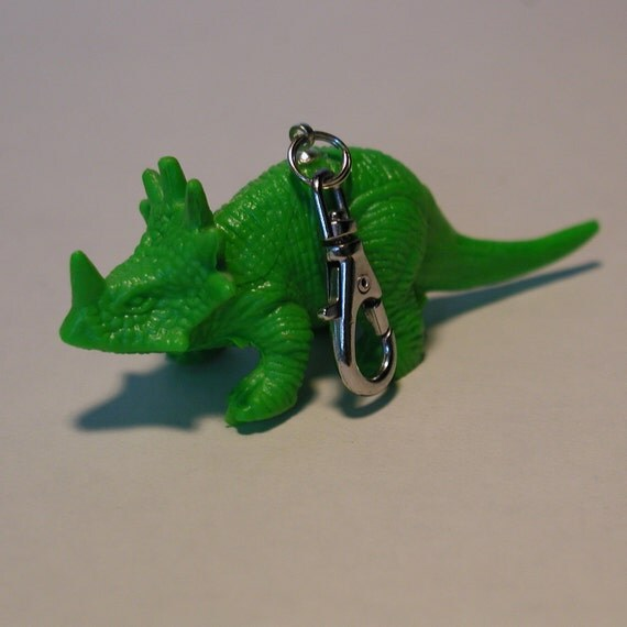 Green Dinosaur Zipper Pull Keychain Backpack Clip Triceratops