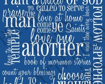 Favorite Church Hymns LDS Subway Art Printable 11 x14