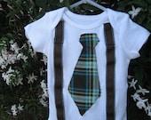 Grandpa George Neck Tie or Bow Tie and Suspenders Onesies