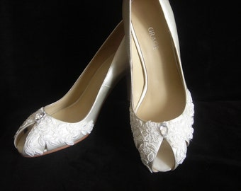 Lace Peep Toe Wedding Shoes and Pumps - Size 8 Last Pair