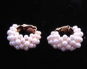 Vintage Pearl Cluster Clip Earrings Classic Mad Men 50s 60s