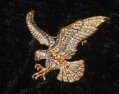 Huge Vintage AMERICAN EAGLE brooch pin Rhinestone eye marcasite