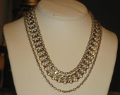 Vintage 1960s designer CORO 3 strand Gold Chain Links Necklace Pin up Mad Men