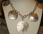 1970's LARGE Sand Dollar Nautical Vintage Silver Statement Necklace