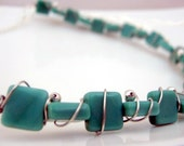 turquoise glass wire wrapped necklace / choker