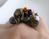 Statement Ring- wire wrapped adjustable ring with freshwater pearls - Mod Meets Vintage