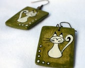 Hand-painted kitty earrings - reserved