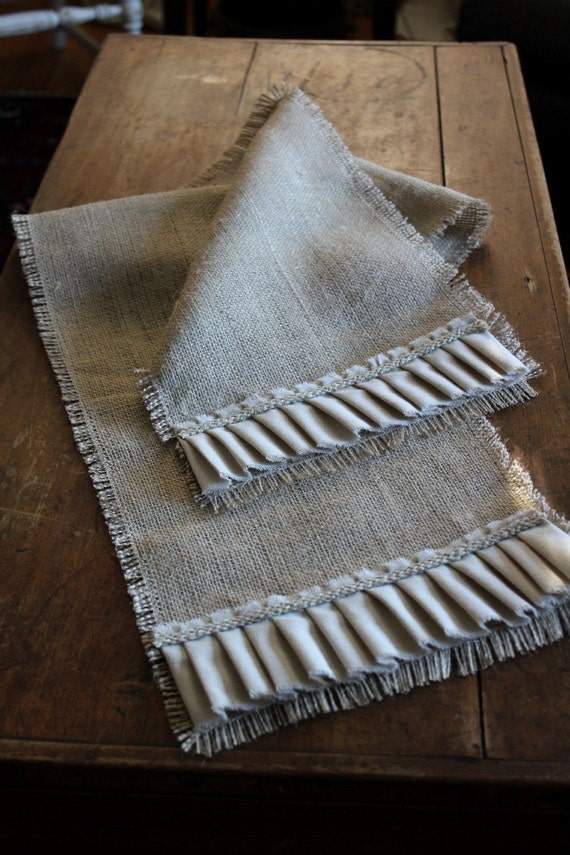 Burlap Table Runner 56 x 11 Urban Farmhouse French Country Chic