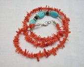 Asymmetrical Red Coral and Turquoise Necklace