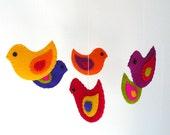 Colorful felt birds mobile