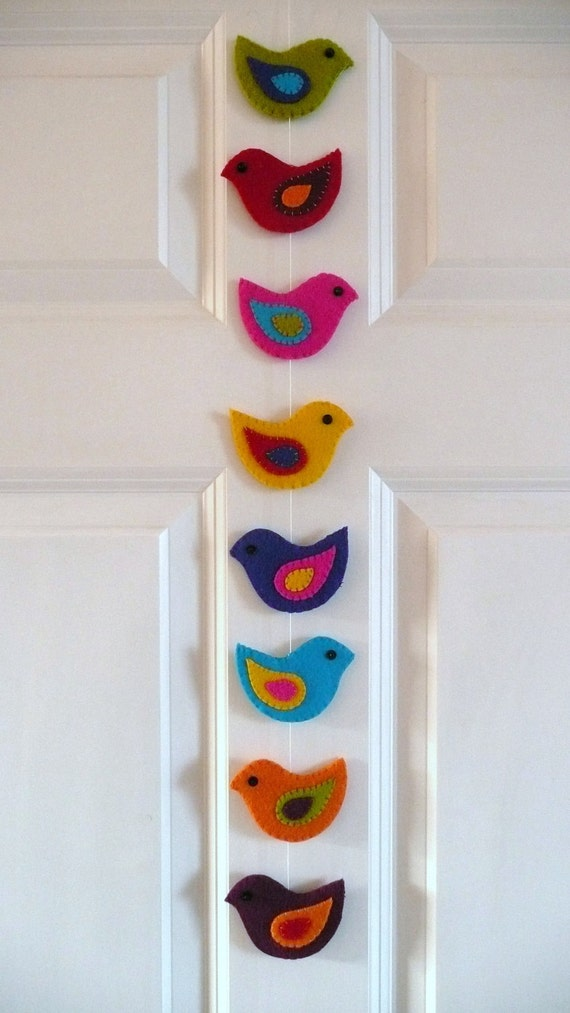 Colorful felt birds garland (L)
