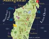 Illustrated Map of Madagascar Limited Edition Print A3 / ca. 11.69 x 16.54 Fine Art Illustration Digital Print Africa Island Map