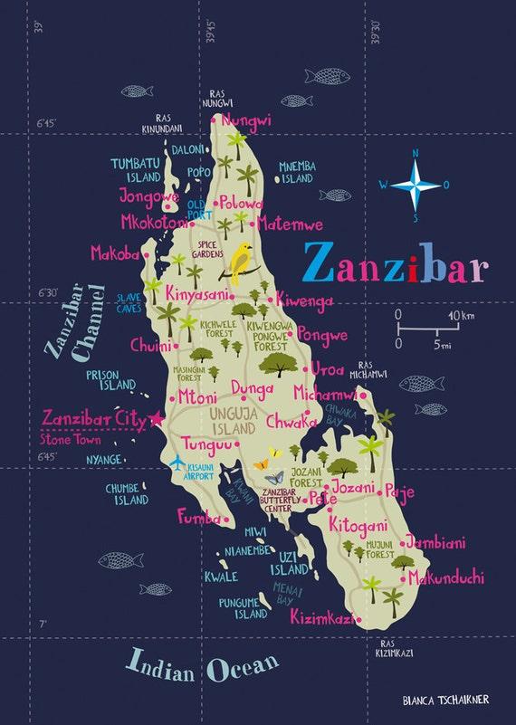 Illustrated Map of Zanzibar Limited Edition Print A3 / 11.69 x