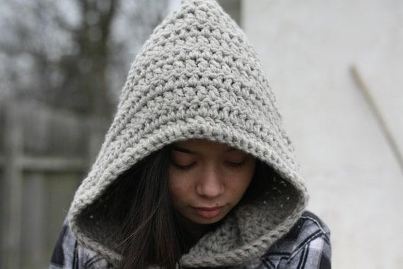 undyed crochet woolen hood - natural grey