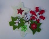 Set of five felt Christmas decorations