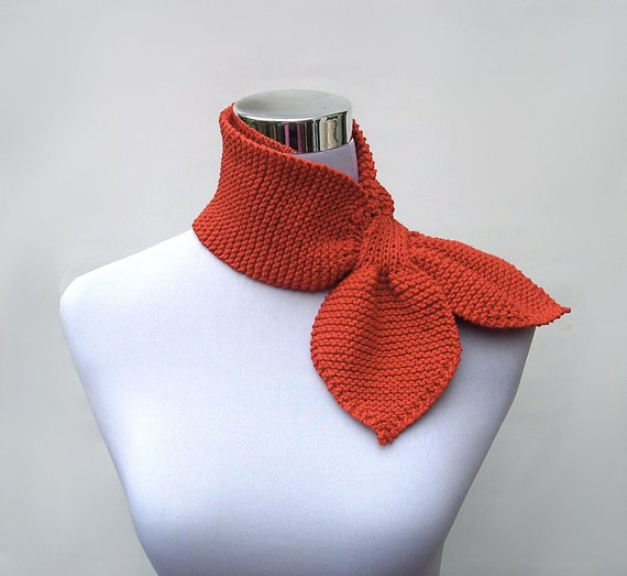 Items similar to Knit ascot scarf 50s style retro scarflette sophisticated gy...