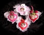 Handpainted Glass Hearts with Cherubs