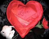 Red Heart Crazy Quilt Pillow