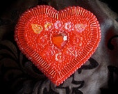 Red Beaded and Jeweled Heart Keepsake Box with Flowers