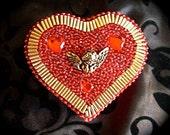 Crimson Red Beaded and Jeweled Heart Keepsake Box with Cherub and Gold