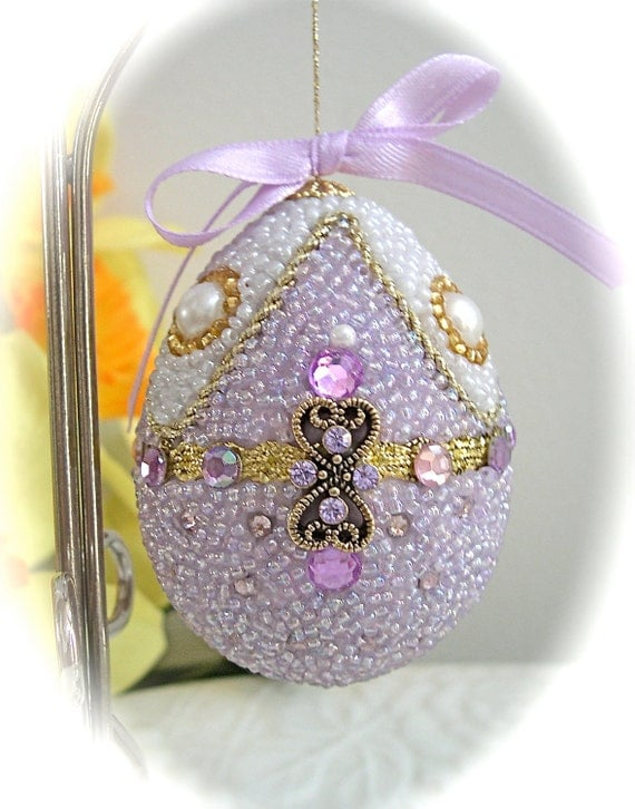 Faberge-like Beaded Egg Ornament Pastel Lilac