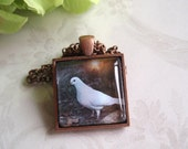"White Dove Art Under Glass - 1"" Square Glass Tile Pendant Bezel Necklace - Copper - Altered Art Glass Tile Pendant"
