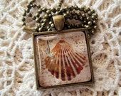 "Seashell Art Under Glass - 1"" Square Glass Tile Pendant Bezel Necklace - Antique Bronze - Altered Art Glass Tile Pendant"