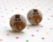 top hat hedgehog fabric button stud earrings ... out on the town