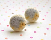 SALE gray hedgehog earrings ... grandpa, my pokey papaw ... fabric covered button studs