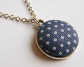 RESERVED :) blue polka dot necklace ... fabric covered button with white spots