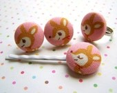 SALE pink deer earrings, ring, bobby pin ... fabric covered button jewelry set