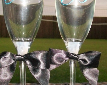 Set of 3 Personalized Wedding Champagne Flutes