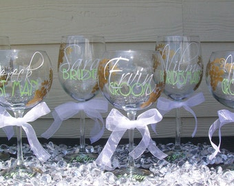 Reserved Listing for Ashton...Personalized Wedding Party Wine Glasses